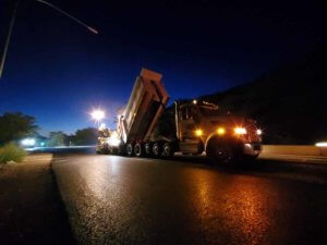 Night Paving in American Fork Canyon