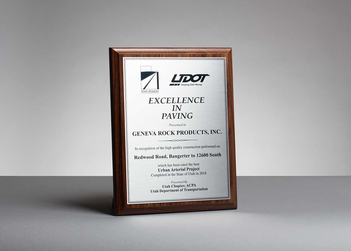 American Concrete Paving Association and UDOT award to Geneva Rock