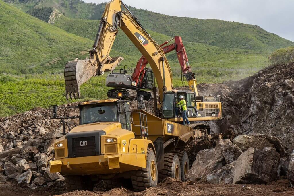 Excavation work for road realignment on Cascade Springs road