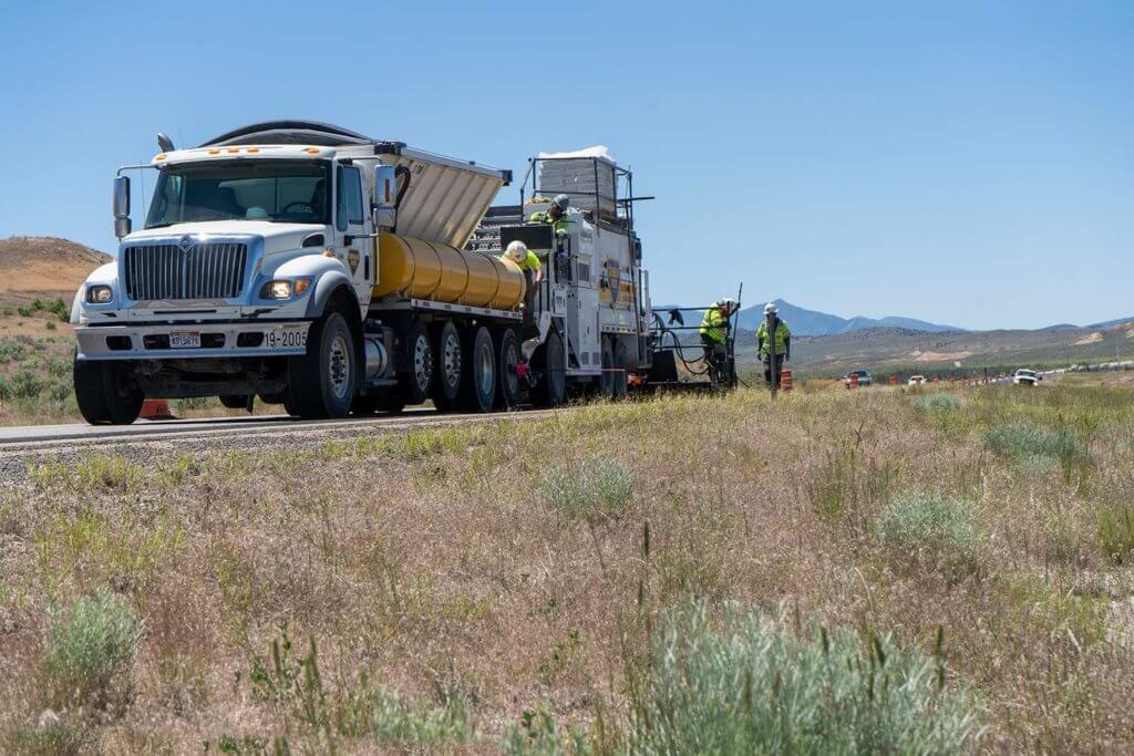 micro-surfacing on I-15 near Mills Utah