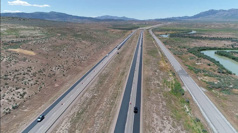 micro-surfacing on I-15 near Mills Utah