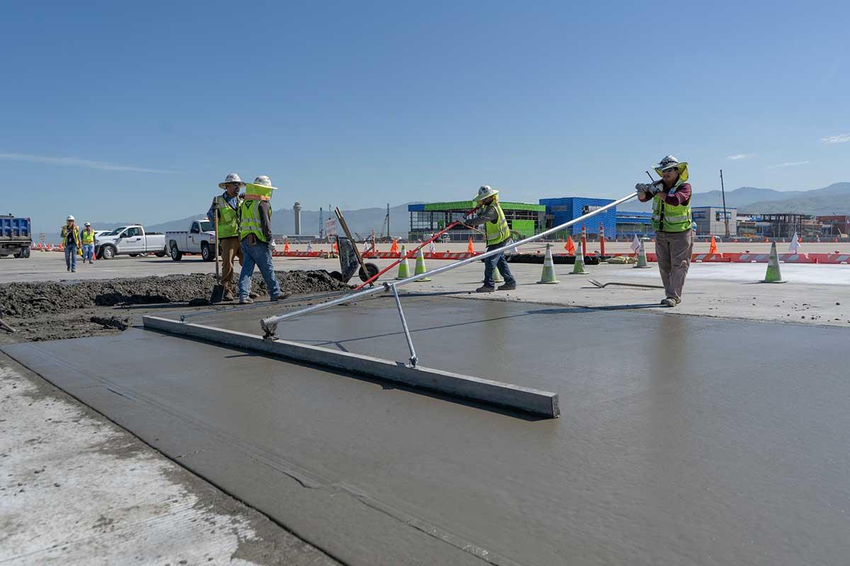 Salt Lake City International airport redevelopment ready mix concrete paving