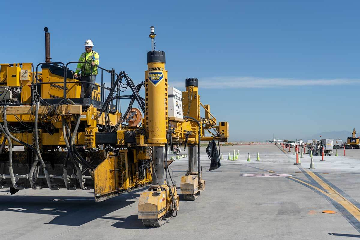 Salt Lake City International airport redevelopment ready mix concrete paving on taxiway