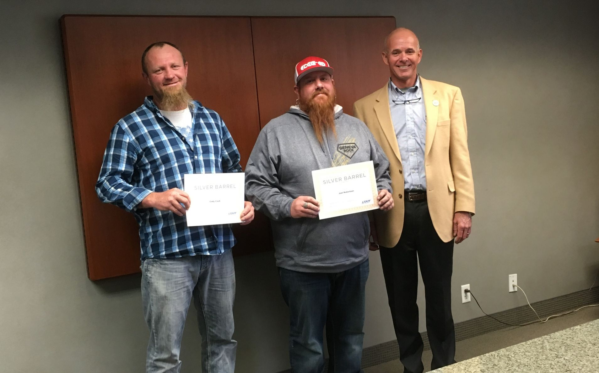 Geneva Rock Employees Recognized with UDOT Silver Barrel Award