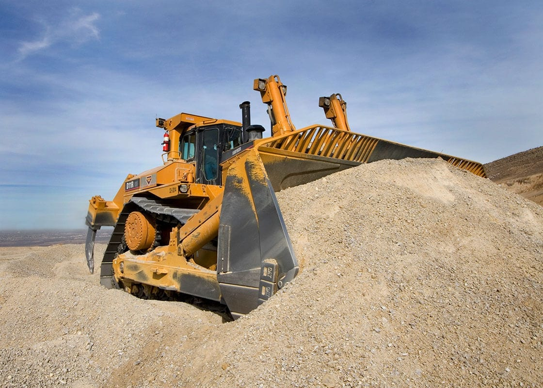 Bulldozer used in sand and gravel production