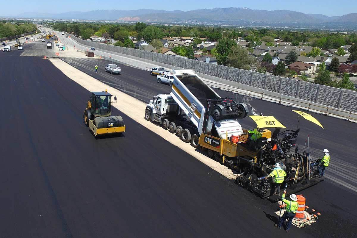 Paving asphalt on new Bangerter Highway overpass