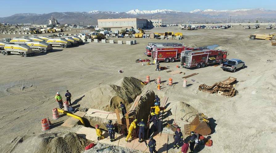 Unified Fire Practices Trench Rescue at Geneva Rock Operation